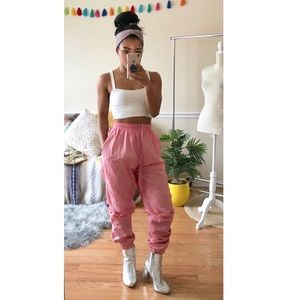 Pants - Bubblegum Pink Street Style Athletic Track Joggers
